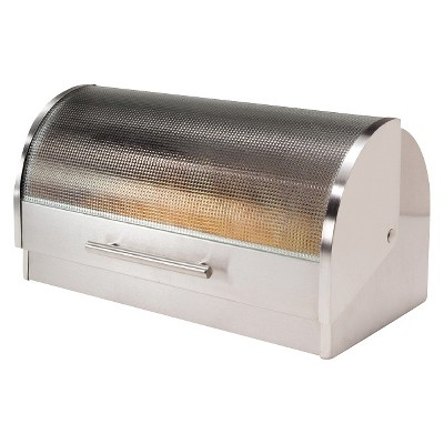Oggi Stainless Steel Breadbox with Tempered Glass Roll Top Lid