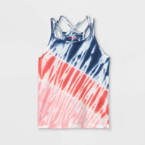 Girls' Americana Tie-Dye Tank Top - Cat & Jack™ Red/Blue - image 1 of 2