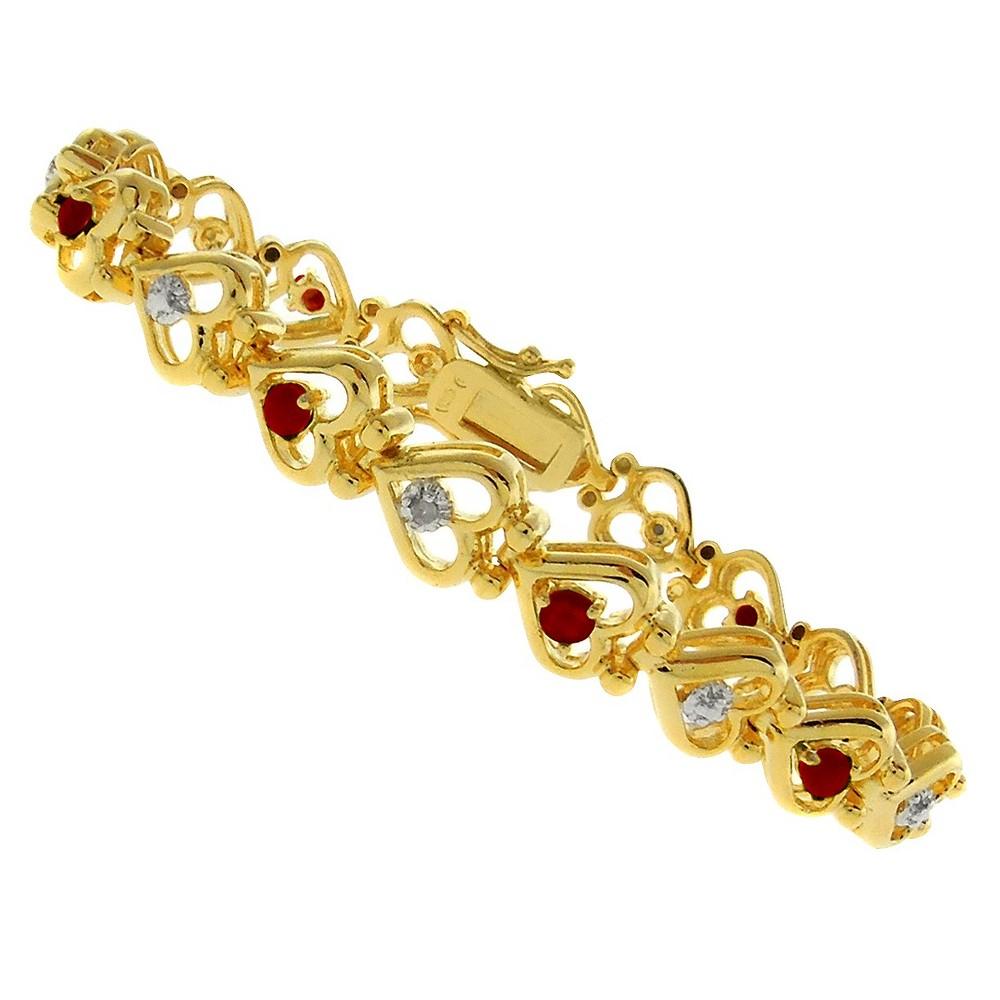 "Image of ""0.01 CT.T.W Round Cut Diamond Accent Multi-gem Heart Prong Set Bracelet 18K Gold Plated(7.2""""), Women's"""