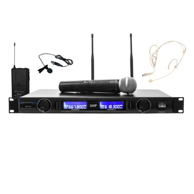 Technical Pro Professional UHF Dual Wireless Microphone Lapel & Headset System