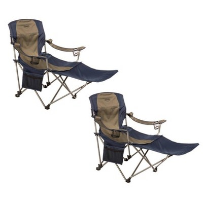 Kamp-Rite Outdoor Folding Tailgating Camping Lounge Chair with 2 Cupholders and Detachable Footrest, Tan/Blue (2 Pack)