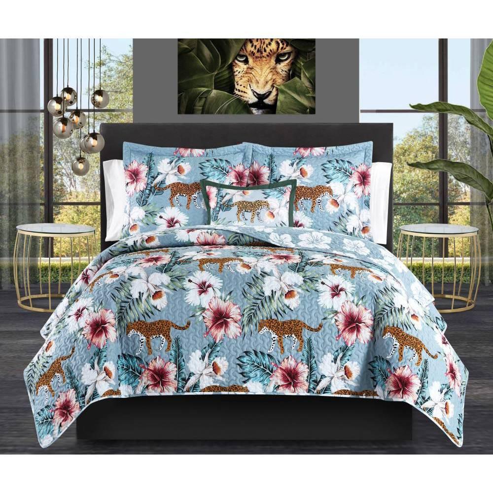 Twin Xl 6pc Orietta Bed In A Bag Quilt Set Blue Chic Home Design