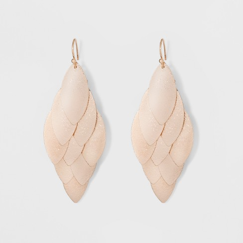 Textured Leaves Fish Hook Earrings - A New Day™ Gold - image 1 of 3