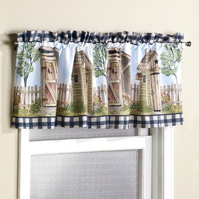 Lakeside Farmhouse Accent Outhouse Theme Window Valance with Rod Pocket
