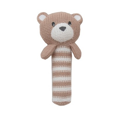 Living Textiles Baby Huggable Knit Rattle - Brody Bear