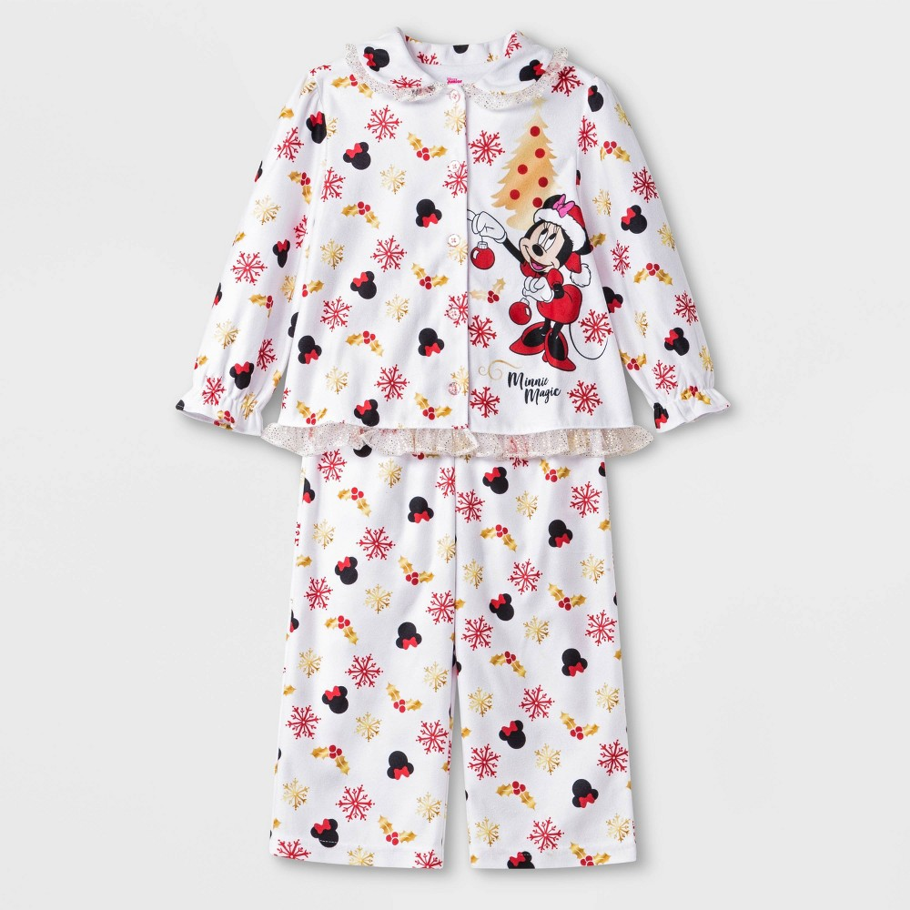 Image of Baby Girls' 2pc Minnie Mouse Pajama Set - White 12M, Girl's