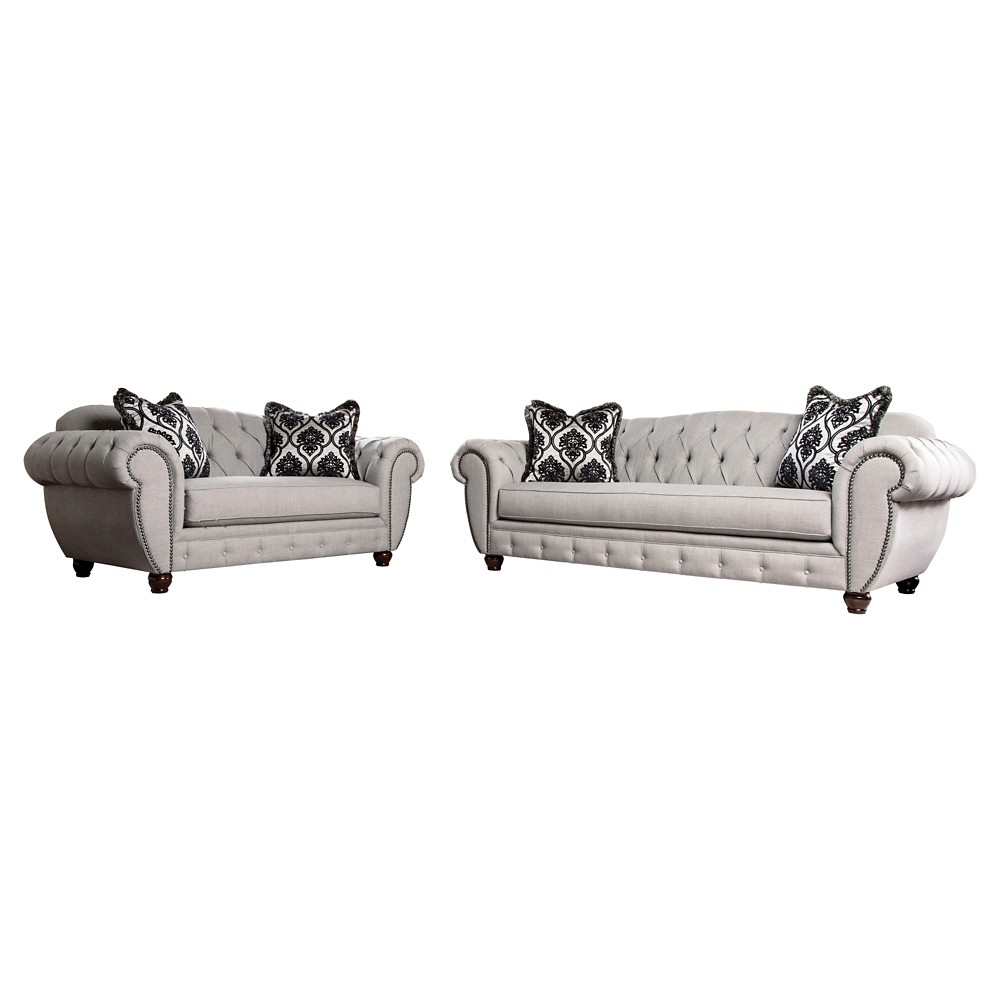 Image of 2pc Livingston Victorian Style Sofa and Loveseat Gray - ioHOMES