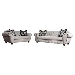 2pc Livingston Victorian Style Sofa and Loveseat Gray - ioHOMES