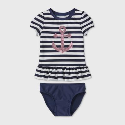 Toddler Girls' 2pc Striped Anchor Short Sleeve Rash Guard Set - Cat & Jack™ Navy