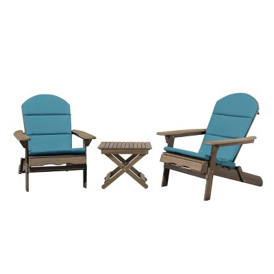 Malibu 3pc Outdoor 2 Seater Acacia Wood Chat Set with Cushions - Dark Teal/Gray - Christopher Knight Home
