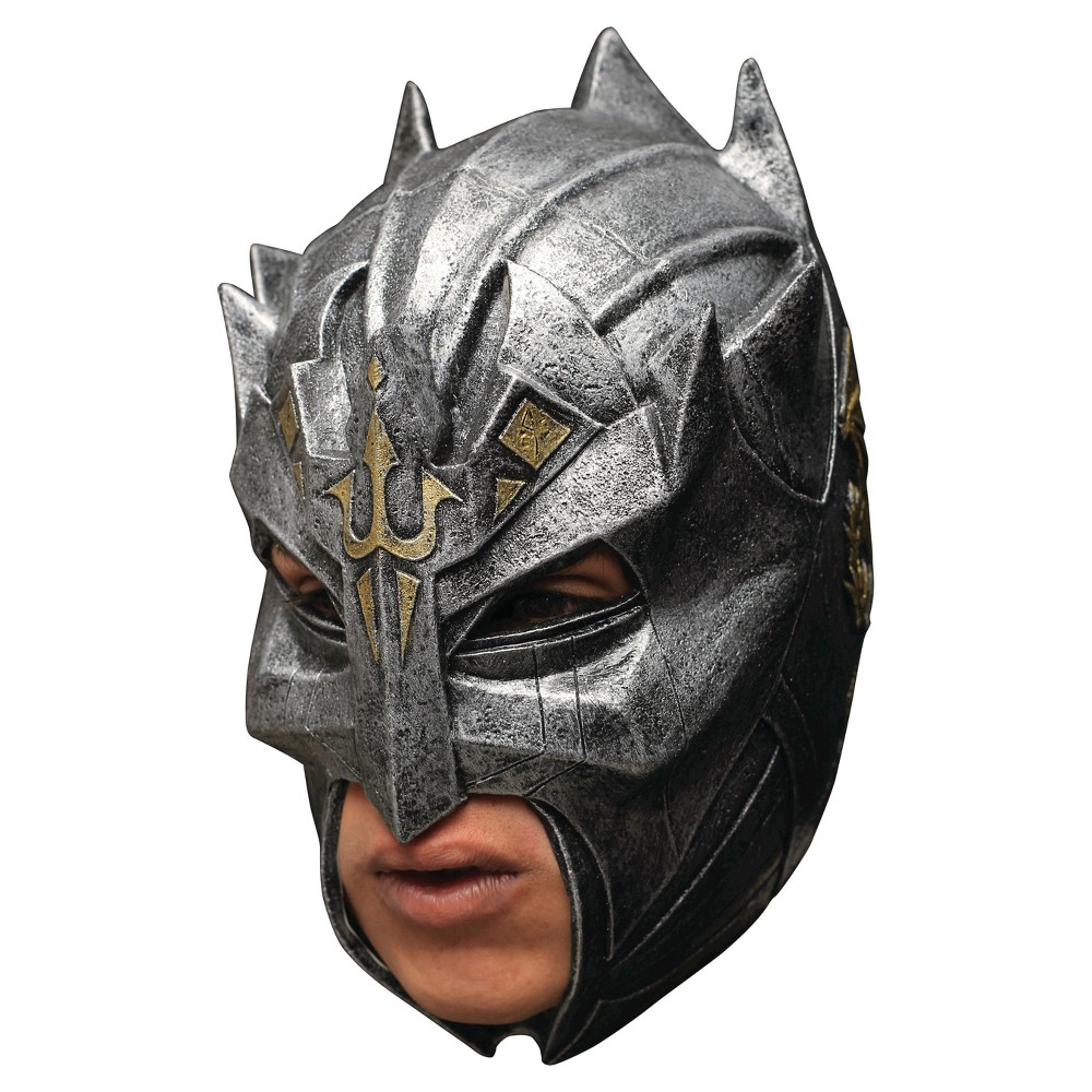 Image of Halloween Men's Dragon Warrior Latex Mask Costume One Size, Silver