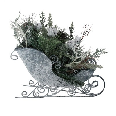 """Northlight 9.5"""" Gray and Green Frosted Christmas Pinecone, Bell and Foliage Filled Tabletop Sleigh"""