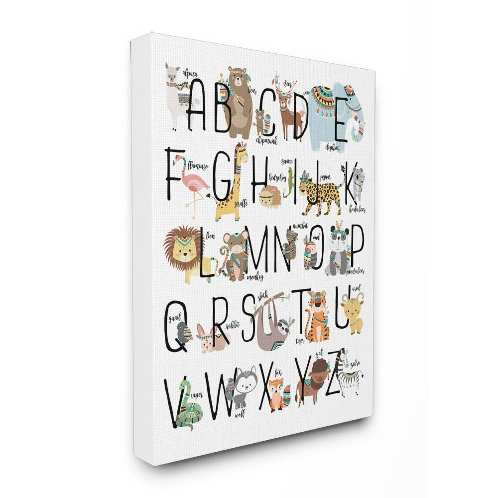 16 X1 5 X20 Boho Animal Abc S Stretched Canvas Wall Art Stupell Industries