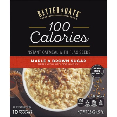 Better Oats 100 Calories Maple & Brown Sugar Whole Grain Instant Oatmeal with Flax - 10ct