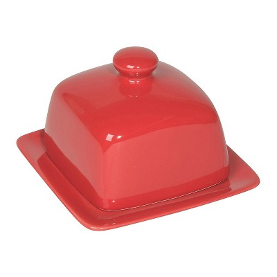 Now Designs Stoneware Dishwasher/Microwave/Freezer Safe 4.5 Inch Square Kitchen Refrigerator Butter Dish with Domed Lid, Red Glaze