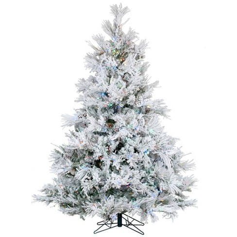 6.5ft Pre-Lit Flocked Alberta with Cone Artificial Tree 600 LED Multicolor - Vickerman - image 1 of 3