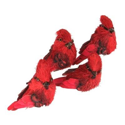 "Northlight 4ct Cardinal Clip-On Bird Figure Christmas Ornament Set 3.25"" - Red"