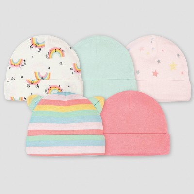 Gerber Baby Girls' 5pk Rainbow Caps - Green
