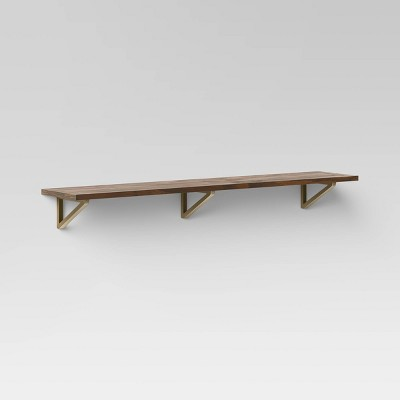 Wall Shelf with Brass Brackets Brown/Gold - Threshold™