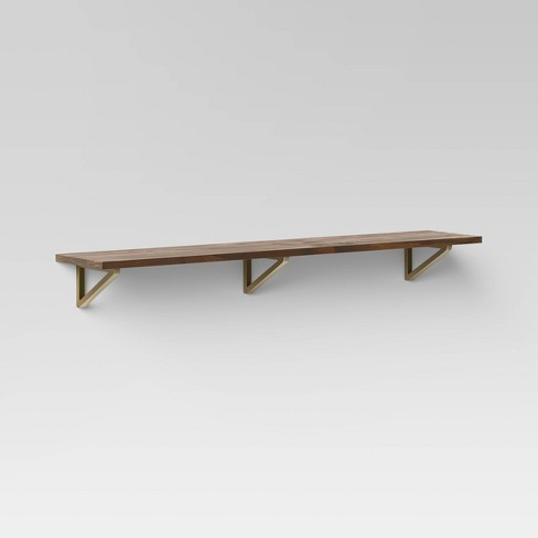 "36"" x 7"" Wall Shelf with Brass Brackets Brown/Gold  - Threshold™ - image 1 of 3"