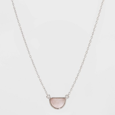 Sterling Silver with Rose Quartz Half Moon Station Necklace - Universal Thread™ Silver