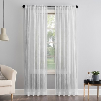 Tamaryn Embroidered Trellis Sheer Rod Pocket Curtain Panel - No. 918