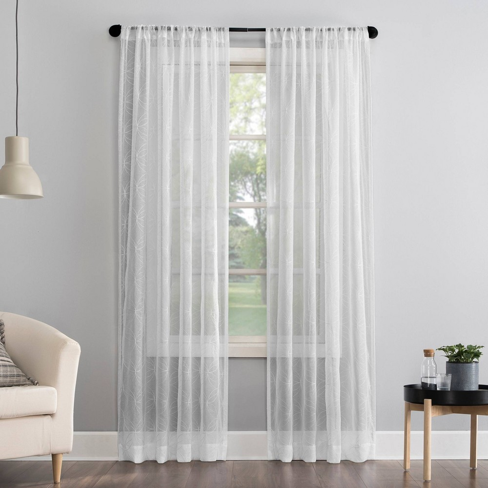 """Compare 63""""x50"""" Tamaryn Embroidered Trellis Sheer Rod Pocket Curtain Panel  - No. 918"""