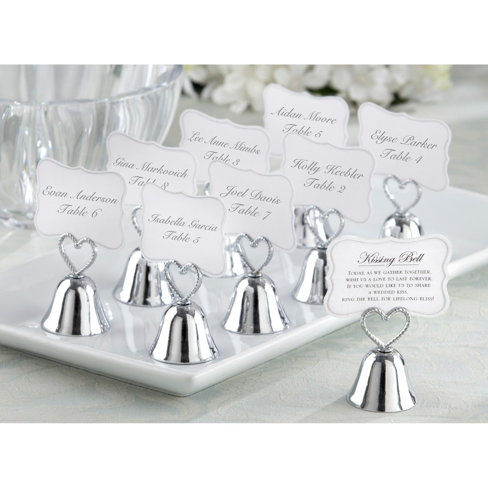 24ct Kate Aspen Kissing Bells Place card Holder, Silver
