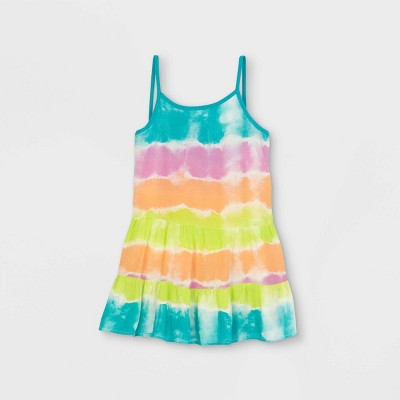 Girls' Striped Tie-Dye Tiered Dress Cover Up - Cat & Jack™ Green