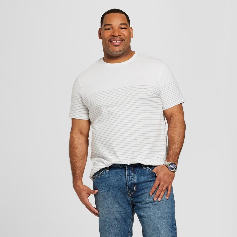 Men's Big & Tall Striped Short Sleeve Crew Neck Novelty T-Shirt - Goodfellow & Co True White 5XBT