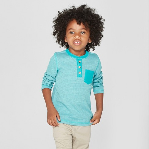 Toddler Boys' Long Sleeve Henley with Pocket - Cat & Jack™ Turquoise - image 1 of 3