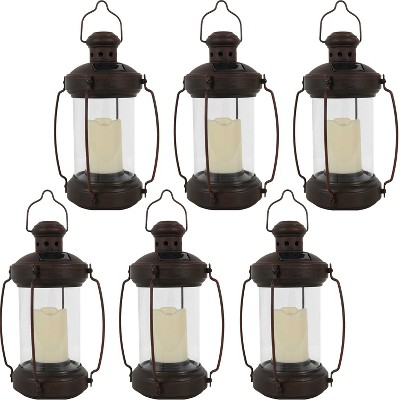"""Sunnydaze Outdoor Antique Style Hanging Solar Lantern Light with LED Light and Candle - 12"""" - Bronze - 6pk"""