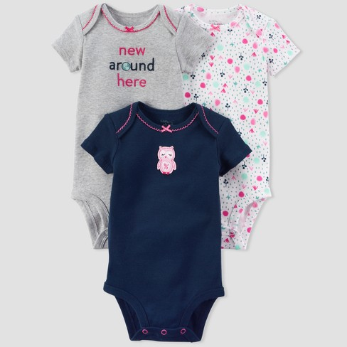 Baby Girls' 3pk Owl Bodysuit Set - little planet™ organic by carter's® Navy/Pink 18M - image 1 of 1