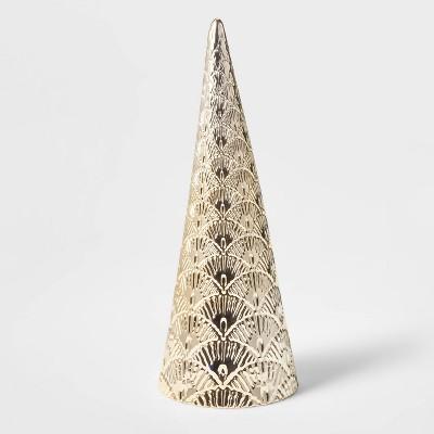 Large Art Deco Ceramic Tree Cone Decorative Figurine Gold - Wondershop™