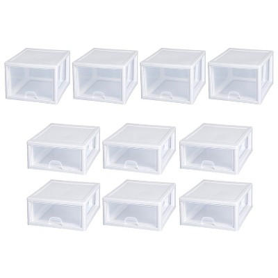 Sterilite 27 Qt Stacking Storage Drawer Container (4 Pack) + 16 Qt Box (6 Pack)
