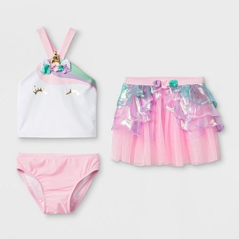 95ccf03274248 Toddler Girls' 3pc Unicorn Tankini Set - Cat & Jack™ Pink : Target