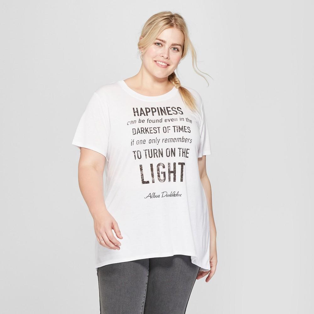 Women's Harry Potter Plus Size Short Sleeve Dumbledore Quote Graphic T-Shirt (Juniors') White 3X