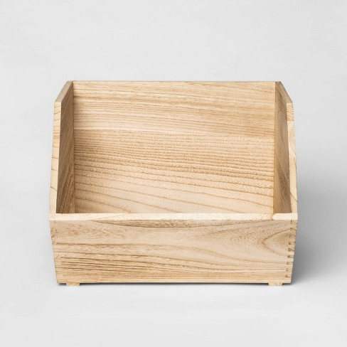 Stackable Wood Toy Storage Bin Natural - Pillowfort™ - image 1 of 4