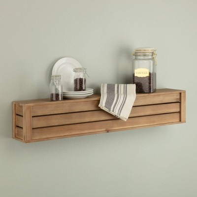 Rustic Wood Crate Floating Wall Mount Shelf Storage - Gallery Solutions