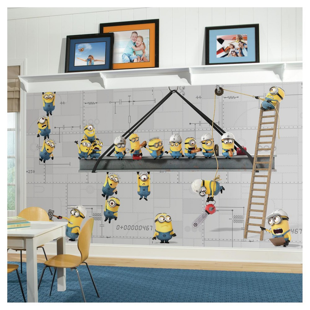 Image of RoomMates Minions at Work XL Chair Rail Prepasted Mural 6' x 10.5' - Ultra-strippable, Multi-Colored
