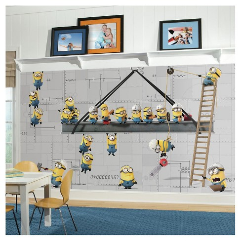 RoomMates Minions at Work XL Chair Rail Prepasted Mural 6' x 10.5' - Ultra-strippable - image 1 of 2
