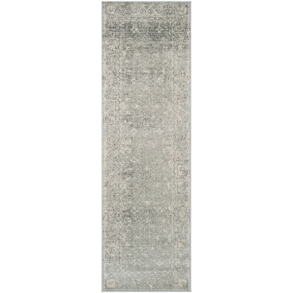 Loomed Medallion Runner Rug Silver