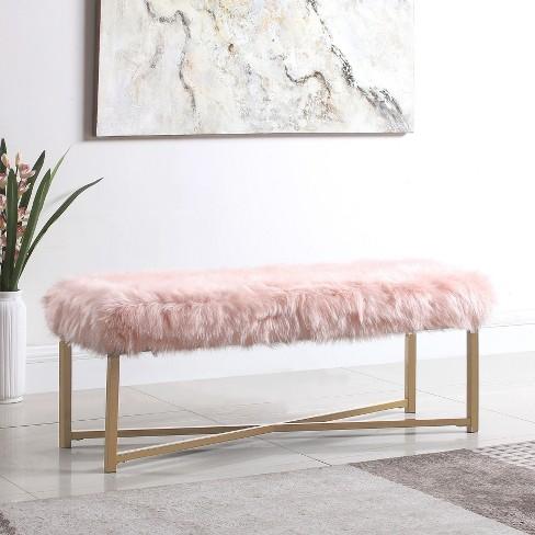 Superb Faux Fur Rectangle Bench Pink Homepop Machost Co Dining Chair Design Ideas Machostcouk