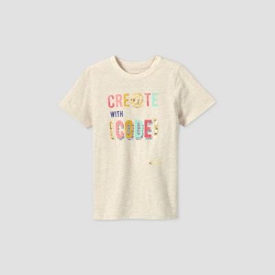 Kids' Short Sleeve 'Create With Code' Graphic T-Shirt - Cat & Jack™ Cream