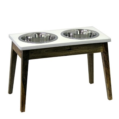 Elevated Dog Feeder With Wooden Stand - Tall - Threshold™