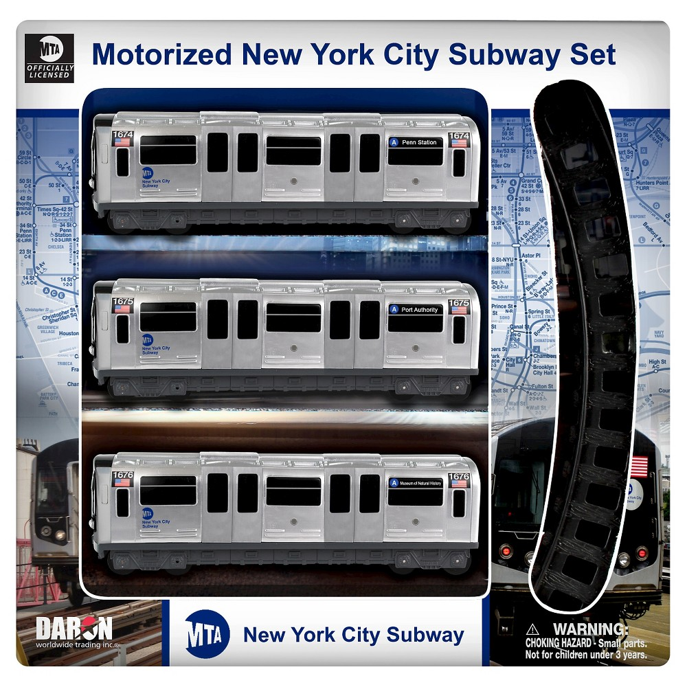Daron New York MTA 3 Piece Subway Set with 8 Piece Track A New York City Subway with 3 cars and track, authenic markings, and motorized. Officially licensed by the MTA and NYC. 8 Pieces of track. Mortorized 3 subway car set. Gender: unisex.