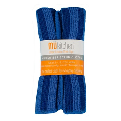 Microfiber Scrub Dish Wash Cloth Blue Set of 2 - Mu Kitchen