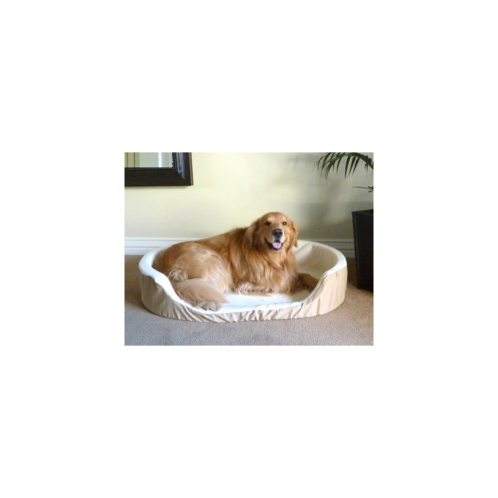 Majestic Pet Sherpa Lounger Dog Bed - L - Khaki, Green/Sherpa