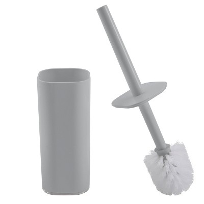 Acrylic Square with Rounded Edges Toilet Brush Holder with Lid Gray - Bath Bliss