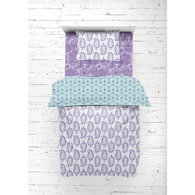 Bacati - Paisley Isabella Purple Lilac Aqua 4 pc Toddler Bedding Set